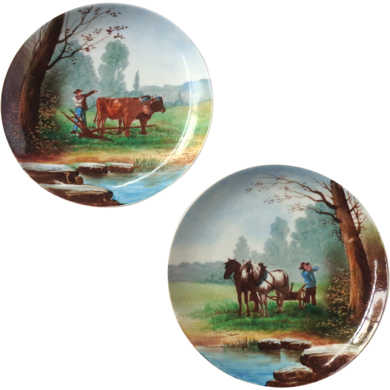 Pair of Vintage Dutch Hand Painted Decorative Plates