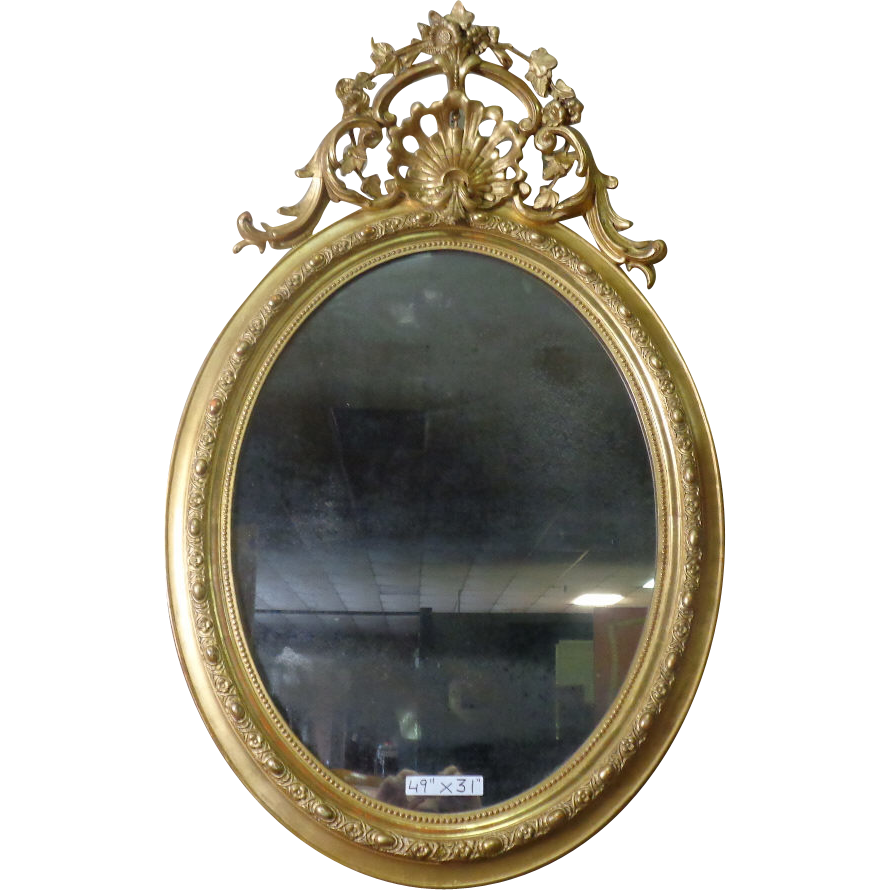 19th Century Antique French Louis XV Style Oval Gilded Mirror