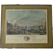 18th Century French Antique Engraving Le Port De Marseille