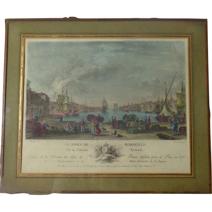 18th Century French Antique Engraving Le Port De Marseille