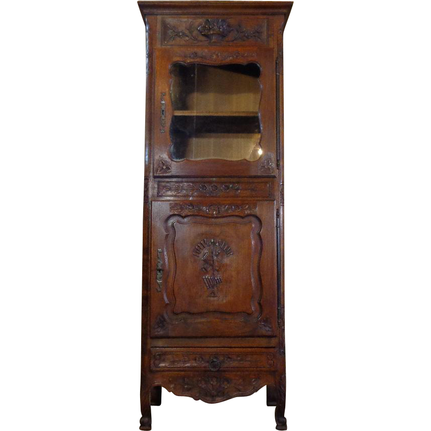 19th Century Antique French Provencal Oak Vitrine Cabinet