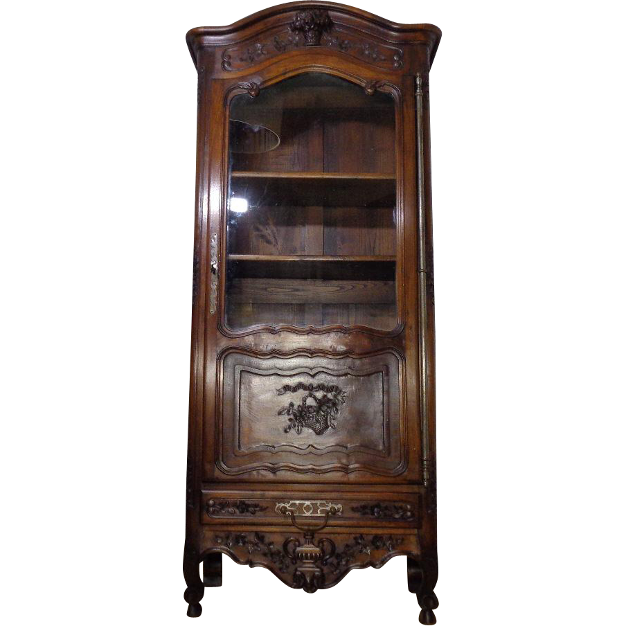 antique french louis xv style walnut vitrine curio sold on. Black Bedroom Furniture Sets. Home Design Ideas