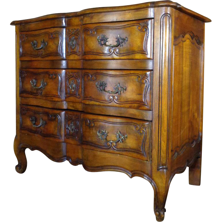antique french louis xv style crossbow walnut commode sold. Black Bedroom Furniture Sets. Home Design Ideas