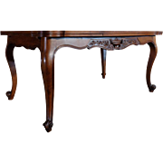 Antique Country French Louis XV Style Walnut Provencal Dining Table