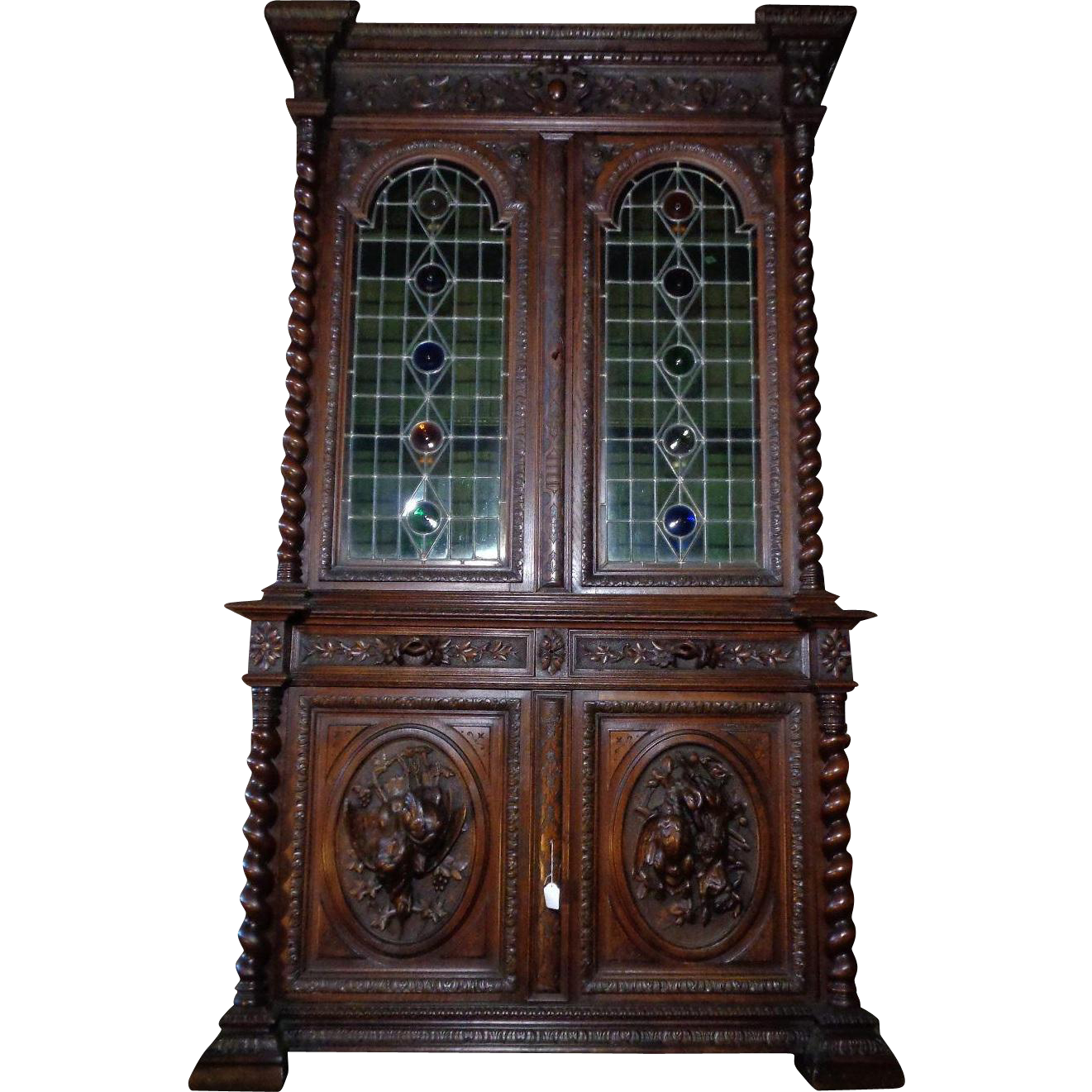 19th Century Antique French Renaissance Style Hunting Buffet Deux Corps