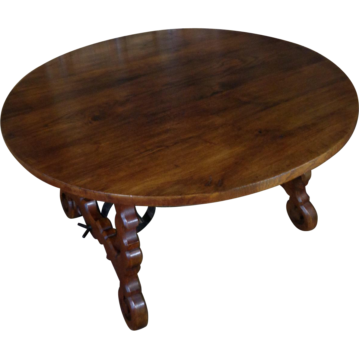 19th century antique spanish round oak dining table from nicolemaleineantiques on ruby lane - Round oak dining tables ...