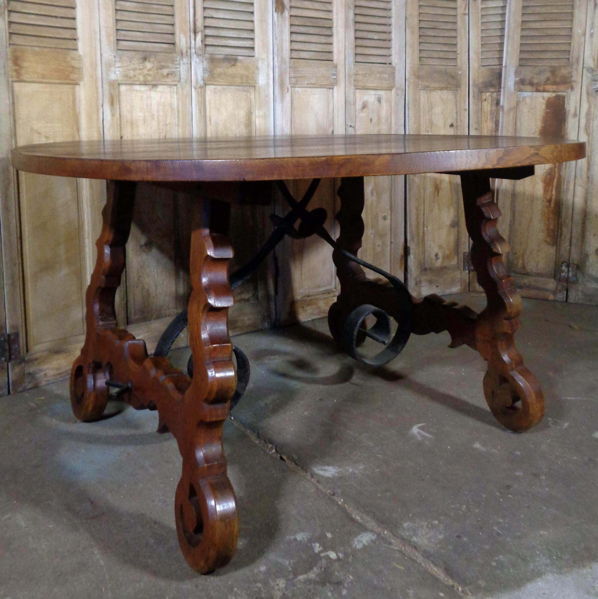 19th Century Antique Spanish Round Oak Dining Table from
