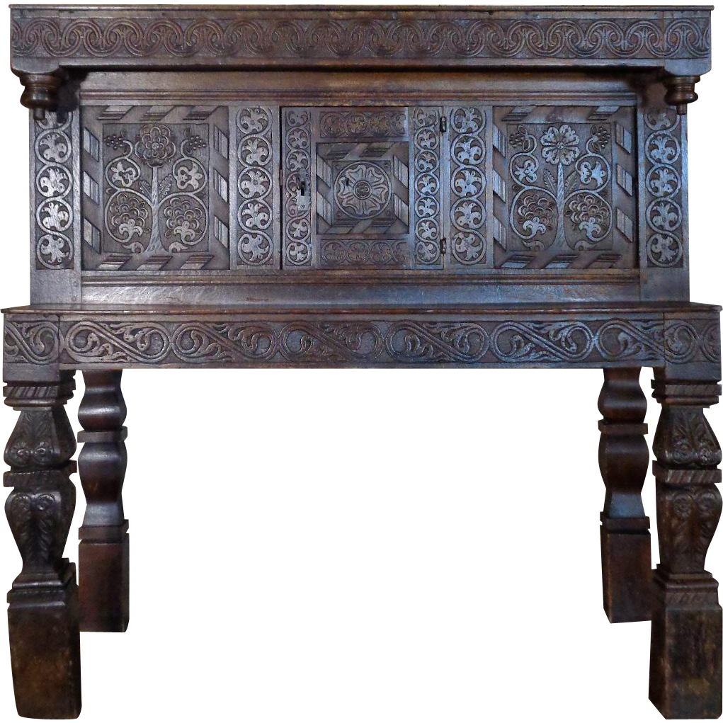 17th century Antique English Charles II Period Oak Cabinet