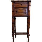 19th Century Antique French Faux Bamboo Nightstand