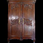 18th Century Antique French Louis XVI Period Oak Wedding Armoire