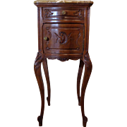 19th Century Antique French Louis XV Style Walnut Bowed Nightstand
