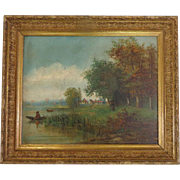19th Century Antique French Oil On Canvas The Fisherman