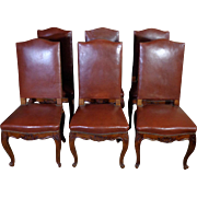 Set of 6 19th Century Antique French Louis XV Style Walnut Chairs