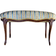 19th Century Antique French Louis XV Style Oak Bench