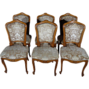 Set of 6 Antique French Louis XV Style Walnut Dining Chairs