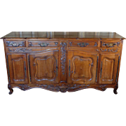 19th Century Antique French Louis XV Style Walnut Buffet Enfilade