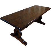 19th Century Antique French Walnut Trestle Table