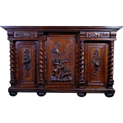 19th Century Antique French Renaissance Style Hunting Oak Buffet Sideboard