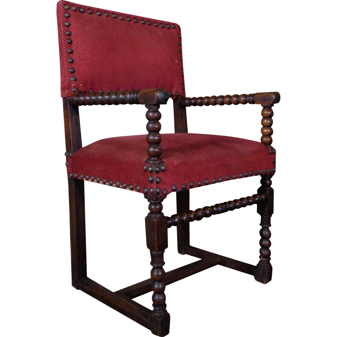18th Century Antique French Louis XIII Style Walnut Armchair