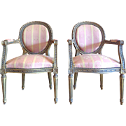 Pair of Antique French Louis XVI Style Medallion Armchairs