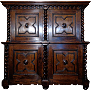 19th Century Antique Dutch Renaissance Style Walnut Buffet Deux Corps