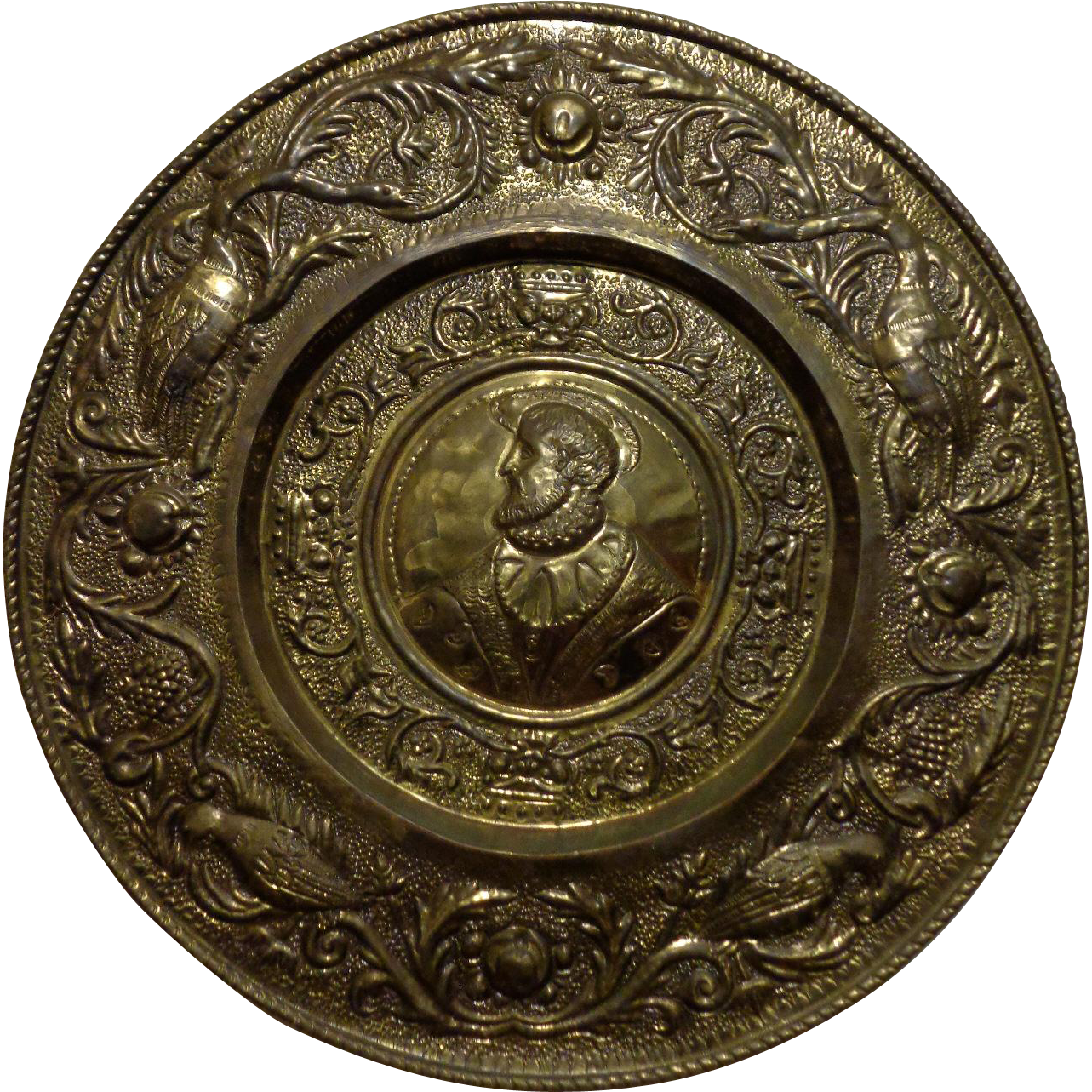 19th Century Antique French Hammered Brass Collection Plate