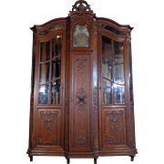 19th Century Antique Liegeois Oak Gun Cabinet
