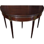 19th Century Antique French Louis XVI Style Mahogany Demi Lune Game Table