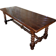 19th Century Antique French Louis XIII Style Oak Dining Table