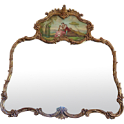 Antique French Louis XV Rococo Style Mirror Trumeau