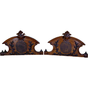 Pair of 19th Century Antique French Napoleon III Walnut Twin Bed Headboards