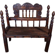 17th Century Antique Spanish Felipe IV Period Pine Catholic Bench