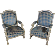 Pair of 19th Century Antique French Renaissance Style Lacquered Armchairs