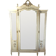19th Century Antique French Louis XVI Style 3-Door Armoire