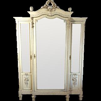 19th Century Antique French Louis XVI Style 3-Door Armoire
