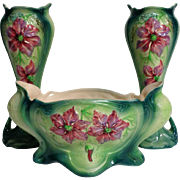 Antique French Art Nouveau Period 3 Pieces Majolica Planter And Vases