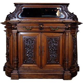 19th Century Antique French Renaissance Style Walnut Buffet
