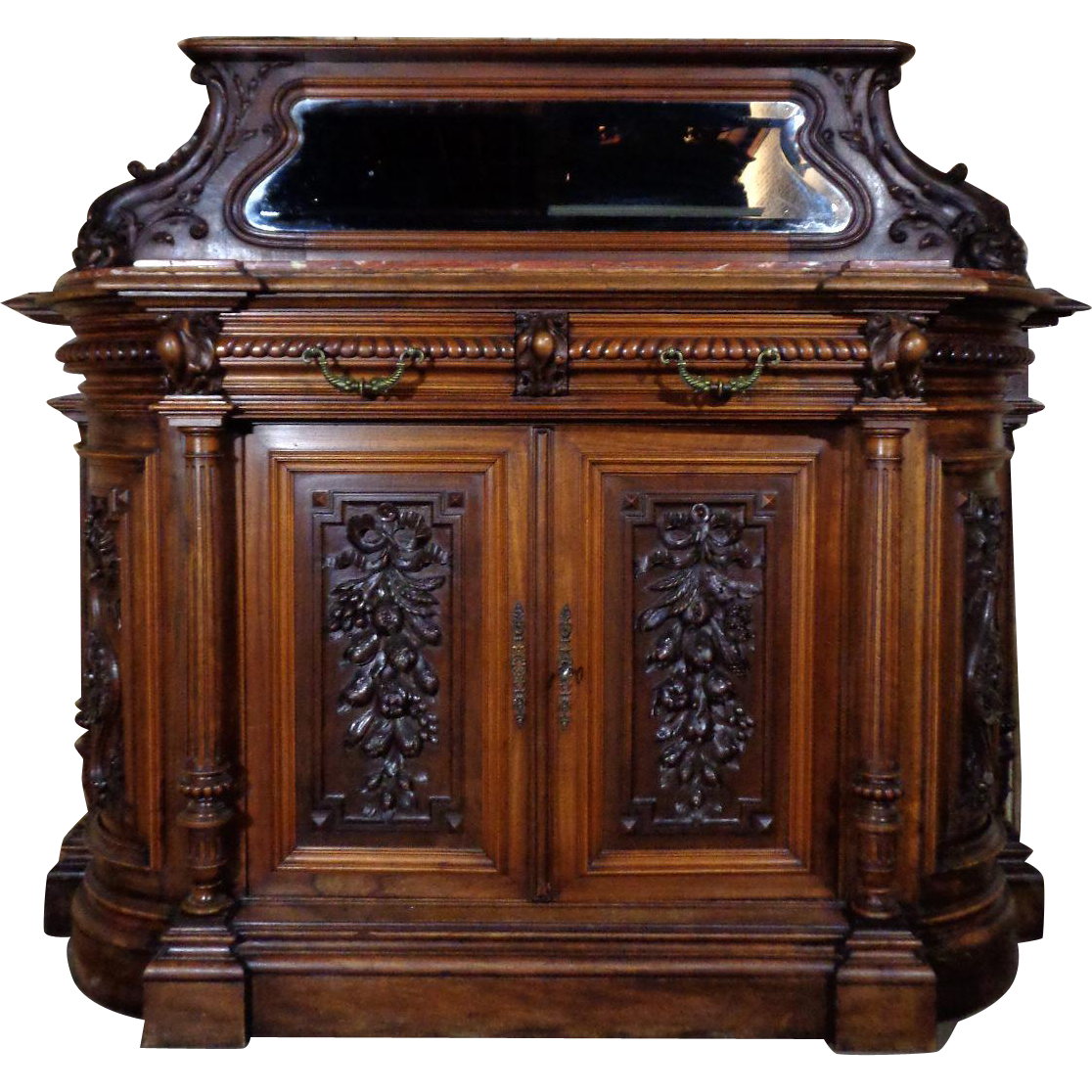19th Century Antique French Renaissance Style Walnut Buffet