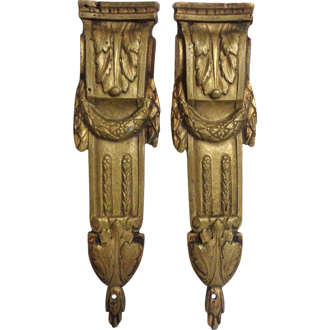 Pair of 19th Century Antique French Cast Bronze Louis XVI Style Omolu Furniture Mount