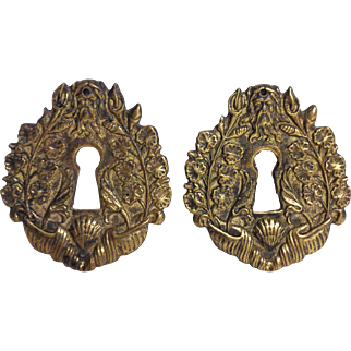 Pair of 19th Century Antique French Empire Period Brass Escutcheons