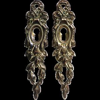 Pair of 19th Century Antique French Louis XVI Bronze Escutcheons
