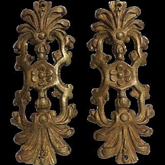 Pair of 18th Century Antique French Cast Bronze Omolu Furniture Mount