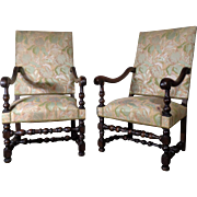 Pair of 19th Century Antique French Renaissance Style Armchairs