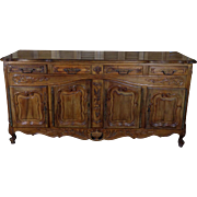 Antique Country French Louis XV Style Walnut Buffet