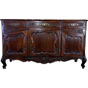 19th Century Antique French Walnut Buffet Enfilade