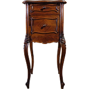 19th Century Antique French Louis XV Rococo Style Walnut Nightstand