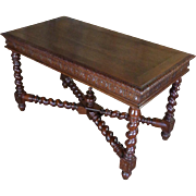 19th Century Antique French Renaissance Style Library Table