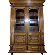 19th Century Antique French Renaissance Style Walnut Bookcase
