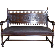 19th Century Antique French Renaissance Style Bench Settee