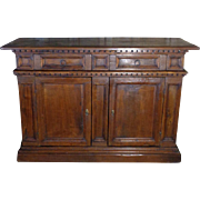 18th Century Antique Italian Renaissance Period Oak Buffet